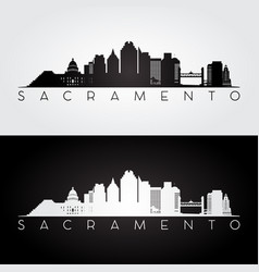 sacramento usa skyline and landmarks silhouette vector image