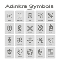 set of monochrome icons with adinkra symbols vector image vector image