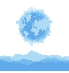 Silhouette city world map and mountains on white vector image