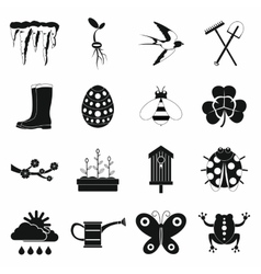 Spring icons set simple style vector