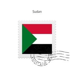 Sudan flag postage stamp vector