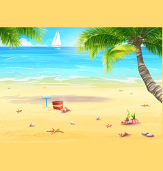 The sea shore with palm trees shells bucket and vector