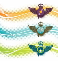 three musical emblem vector image