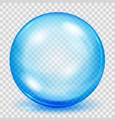 Transparent light blue sphere with shadow vector