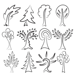 tree sketches vector image vector image