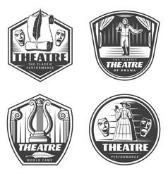 Vintage classic theatre emblems set vector