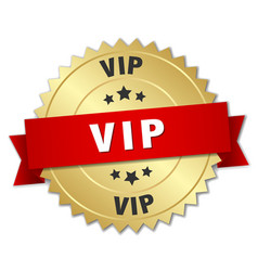 vip 3d gold badge with red ribbon vector image