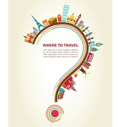 Where to Travel question mark with tourism icons vector image