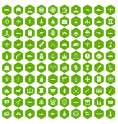 100 combat vehicles icons hexagon green vector