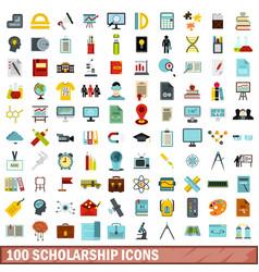 100 scholarship icons set flat style vector