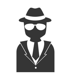 silhouette man detective hat glasses isolated vector image