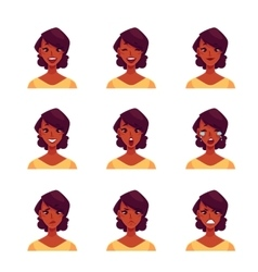 Set of african woman face expression avatars vector