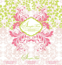 Pink and green abstract floral invitation vector