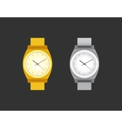 Golden and silver wrist watch on black field vector