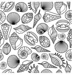sea shells black seamless pattern vector image