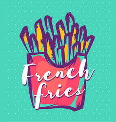 French fries poster with cool design vector
