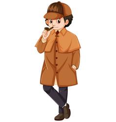 Detective wearing brown overcoat vector