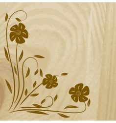 wooden texture with flower illustration vector image