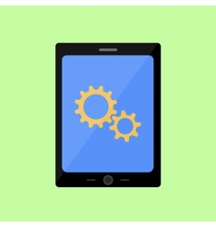 Flat style touch pad with gear wheels vector