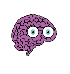 Brain violet cartoon vector
