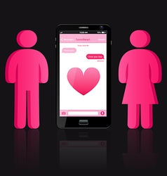 Loving couple of human shape and smart phone vector