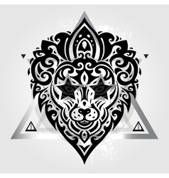 Lions head tribal pattern vector