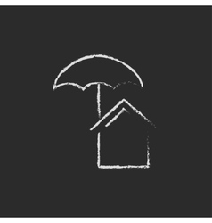 House insurance icon drawn in chalk vector