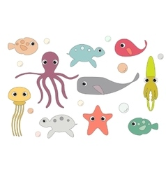 Underwater cartoon characters vector