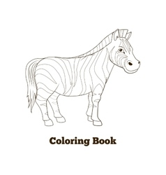 Coloring book zebra african savannah animal vector