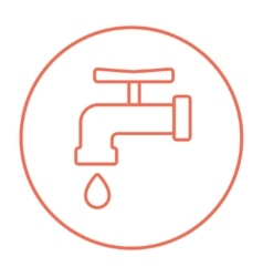 Faucet with water drop line icon vector