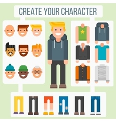 Make your flat character elements creator man in vector image