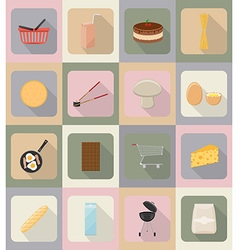 food objects flat icons 19 vector image