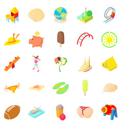 Carefree icons set cartoon style vector