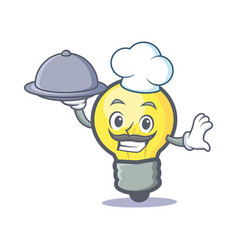 Chef light bulb character cartoon with food vector
