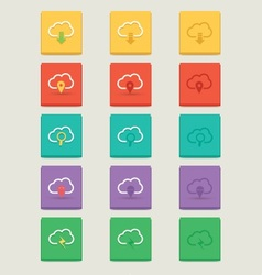 Cloud 3 Styles Icons 2 vector image vector image