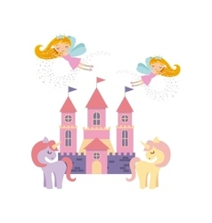 cute pink fantasy castle vector image