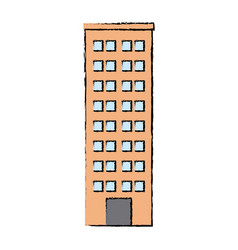 Drawn building skyscraper residential structure vector