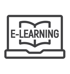 e learning line icon education and online vector image vector image