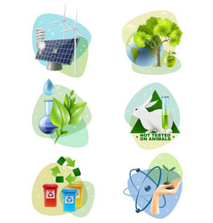 Environment protection 6 ecological icons set vector