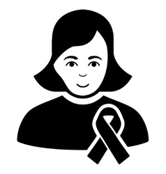 Girl With Sympathy Ribbon Flat Icon vector image
