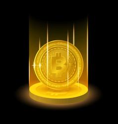 Golden bitcoin in shining light effect vector