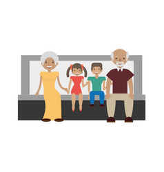 Grandparents grandsons family vector