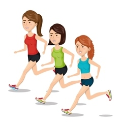 Group girl running jogging sport design isolated vector