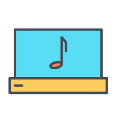 laptop with music note thin line icon pictogram vector image