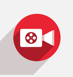 Modern videocamera red circle icon vector