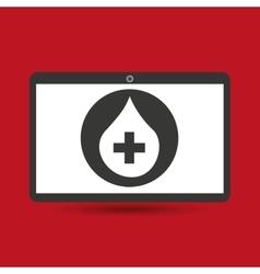 Notebook pc service medical cross blood drop vector