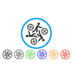 Running persons for gears flat icon vector