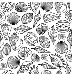 sea shells black seamless pattern vector image vector image