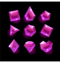 Set of cartoon purplepink different shapes vector image vector image