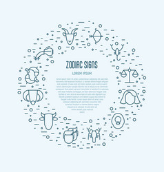 set of zodiacal icons in circle for banner vector image vector image